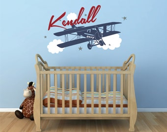 Airplane Name Decal ,Personalized, Airplane Clouds, Airplane Nursery Name Decal, Airplane Decor, Airplane Nursery, Plane Decal - WD0076
