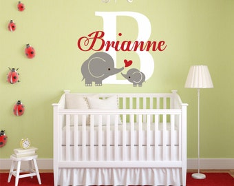 Elephant Name Decal, Elephant Decor, Elephant Wall Decal, Personalized Elephant Decal, Elephant Nursery, Elephant Bedroom, Elephant - WD0147