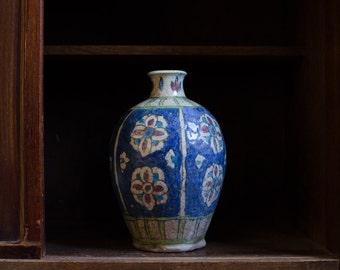 Antique Persian Hand Painted Pottery Ceramic Vase - 19th Century