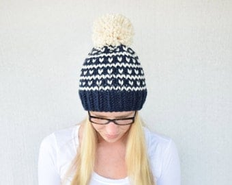Fair Isle Knitted Hat, Knitted Hat with Pom pom, Fair Isle, Winter Hat, Fall Hat, Winter Fashion, Knitted Hat || The Breckenridge in Navy