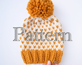 Knitting PATTERN,  Fair Isle Knitted Hat, Knitting pattern, Fair Isle Pattern, Size Adult || The Tara