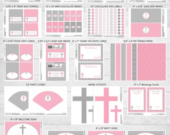 Baptism or First Holy Communion LARGE Party Package | Pink & Grey | Personalized | Printable DIY Digital Files