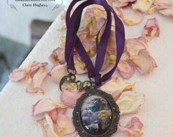 Goddess Moon Pendant Ribbon Necklace Ship Seascape Night Sky Detailed Miniature Art Handcrafted -Purple
