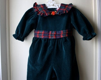 ON SALE Vintage green velvet and red tartan baby romper / Christmas holiday romper / infant baby girl 0 to 6 months