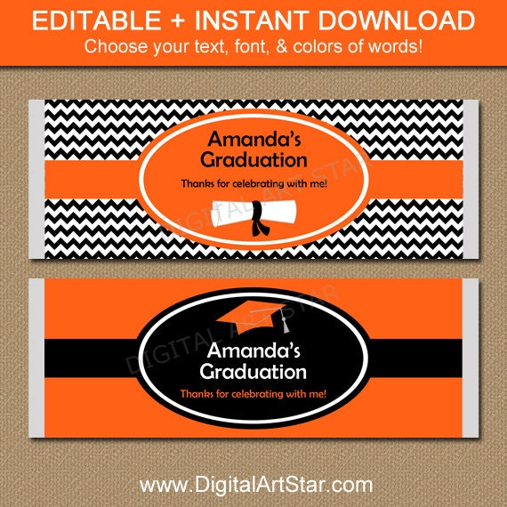 chocolate bar label template - printable graduation chocolate bar wrappers by digitalartstar