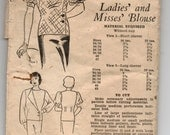 "1930's Ladies' and Misses' Blouse Pattern - Bust 34"" - No. 5471"