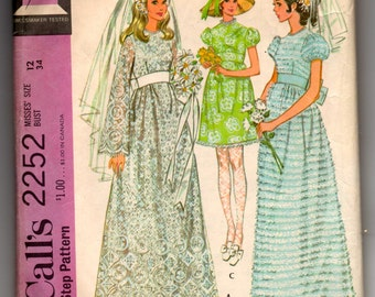 """1960's McCall's Wedding and Bridesmaids Dress Pattern - Bust 34"""" - No. 2252"""
