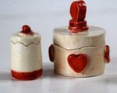 Tiny Red and White Handmade Ceramic Boxes
