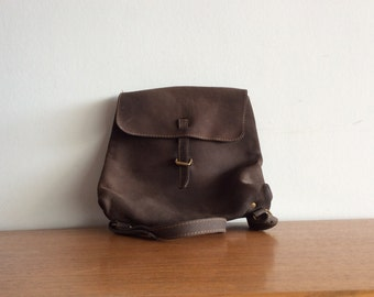Cocoa Brown nubuck leather Charles et Charlus backpack, vintage
