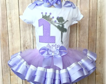 Ballerina Birthday Outfit - Ballerina Birthday Ribbon Trim Tutu Outfit - First Birthday Outfit