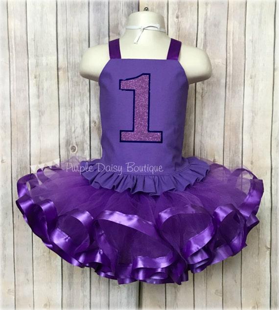First Birthday Ribbon Trim Tutu Outfit Girls Ruffled Corset