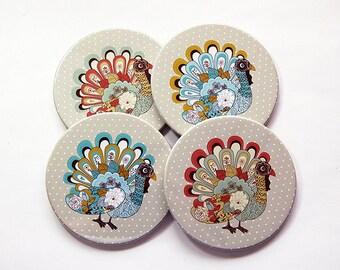 Thanksgiving Coasters, Turkey Coasters, Happy Thanksgiving, Coasters, Hostess Gift, Thanksgiving Decorations, Turkey (6008)