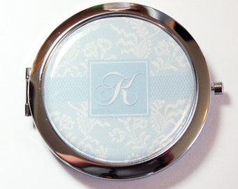 Pill case with mirror, Something Blue, Monogram pill case with mirror, Bride pill case, Wedding, gift for bride, Bridal shower gift (5558)