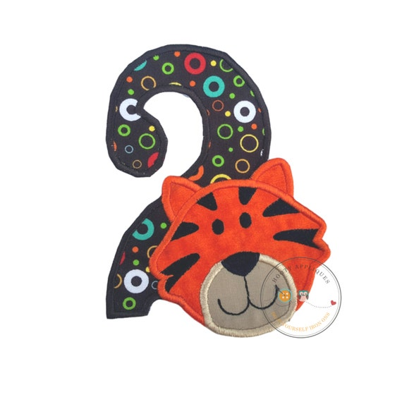 Tiger Head Number Two Birthday Iron On Applique By