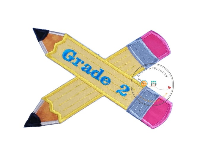 Large 2nd grade pencils- back to school - Iron embroidered fabric applique patch embellishment-ready to ship