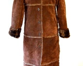 Full Length Faux Sheepskin Shearling Dark Brown Suede Long Coat Size Small