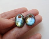 AAA Grade Flashy Labradorite Large Hole Ovals 13x18 mm One Matched Pair L3684