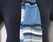 Clearance Sale Blue Scarf Cotton and Wool Recycled Upcycled Altered Clothing Eco Chic Boho Hippie Repurposed