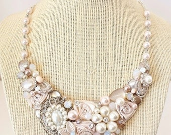 Whisper Pink Statement Necklace- Pink Bridal Bib- Blush Statement Necklace- Soft Pink Bridal Bib- Blush Necklace- Champagne Pink Bridal Bib