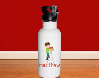 Apple Picking Kids Water Bottle - Apple Fun Time Boy Ladder with Name, Child Personalized Stainless Steel Bottle BPA Free Back to School