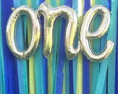 "ONE script White Gold Mylar Balloons - 30"" Long - 1st Birthday Decor -  First birthday - ONE Balloon - Foil Balloon"