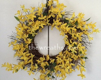 Forsythia Wreath, Forsythia Spring Wreath, Forsythia Summer Wreath, Wreath