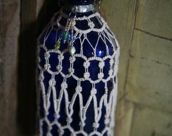 Tatting Covered Hanging Vintage Bottle/Vase, Cobalt Blue Glass, Silver, W/Beading