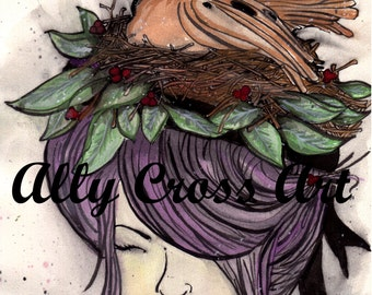 """Fine Art Print """"Dove Hair"""" Painting by Ally Cross"""