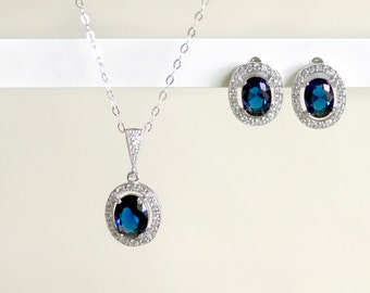 Bridesmaid Jewelry Set, Wedding Jewelry Set, Halo Earring Studs, Halo Necklace, Bridesmaid Gift, Sapphire Necklace - Sapphire Earrings