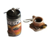 Nescafe coffe jar and coffee cup earrings  dolls house - Handmade miniature polymer clay food funny jewelry spoon biscuits ceramic mug