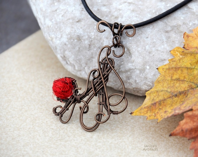 Red Wire wrapped pendant Artisan jewelry Abstract necklace Cool Gifts Gift for her Handcrafted handmade Wearable art bronze retro Vintage