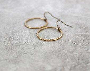 SALE 30% OFF - Brass Hoops, Simple Gold Hoops, Hoop Earrings