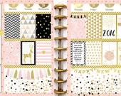 Pink Gold New Year Printable Planner Kit 5 PDFs, EC or Happy Planner, OVER 300 Stickers!