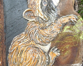 Vintage Raccoon Painting Thick Acrylic on Wood Tree Bark Donna Barber Schwefel Wisconsin 1970's