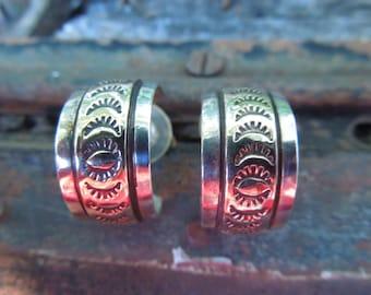 Navajo Native American Earrings Hoop Sterling Silver 1/20 12k Gold Engraved Signed FT
