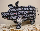 Valentine's Day Pig - Made To Order, Primitive Valentine's Day Decor, Country Valentine Decor