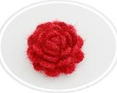 Crochet Brooch - Rose Brooch - Corsage Brooch Pin -  Red Fluffy Rose- Christmas Ocasion Party Brooch