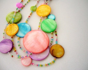 Necklace - Strand Necklace - Beaded Necklace - Layered Necklace - Multicolored Shell Necklace - Summer Rainbow