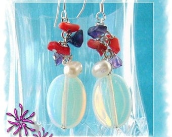 Earrings - Opal Earrings - Pearl Coral Amethyst Opal Dangling Earrings - Handmade Jewellery