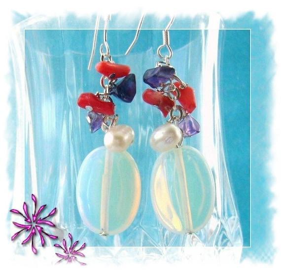 Earrings - Opal Earrings - Pearl Coral Amethyst Opal Dangling Earrings - Handmade Jewellery