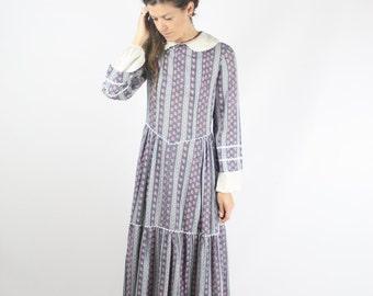 70s Bohemian Maxi Dress, Vintage maxi, Long sleeve Hippie dress, Small