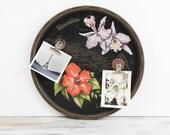 Vintage Hawaii Metal Souvenir Serving Tray w/ silk screened state flowers, gold landmarks.