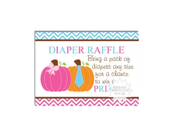 Pumpkin Gender Reveal Diaper Raffle Tickets-Fall Pumpkin Baby Shower Diaper Raffle Tickets-INSTANT DOWNLOAD