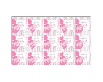 Pink Belly Bump About to POP Baby Shower Favor Tags-Thank You Tags-INSTANT DOWNLOAD