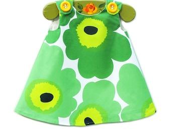 Marimekko Dress - Marimekko - Birthday - Green - Infant Dress - Baby Shower - Speical Occasions - Handmade Childrens Fashion - 0 to 2T only