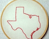 "5"" Denton Texas City State Hand Stitched Embroidery Hoop Wall Art- original design"