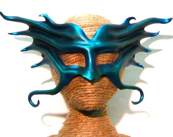 Atlantean, Water Creature, Merman or Mermaid, Neptune, ...Iridescent Blue-Green, Leather Mask (124)