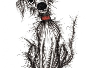 Skinny dog Print A4 size picture Extremely hungry thin little pet puppy doggie pooch pup in red collar with cute face and empty food bowl