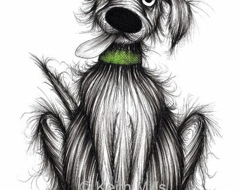 Fuzzy Fred Print download Happy friendly dog pooch mutt hound with sticky out tongue a green collar and cheerful face Amusing sketch picture