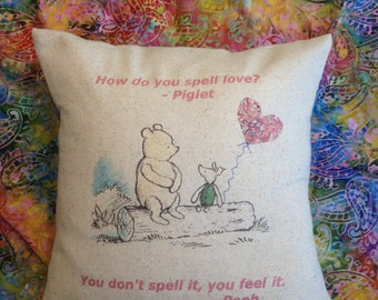 Winnie the Pooh and Piglet pillow. Quote. Valentine's Day, Nursery